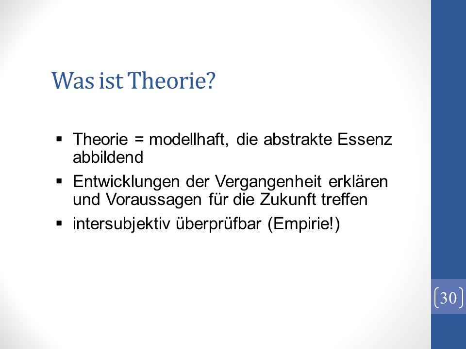 Was ist Theorie? 30 Theorie = modellhaft, die abstrakte Essenz abbildend Entwicklungen der Vergangenheit erklären und Voraussagen für die Zukunft tref