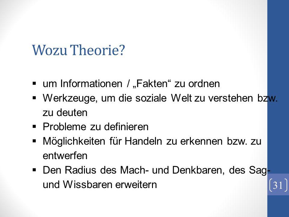 Wozu Theorie? 31 um Informationen / Fakten zu ordnen Werkzeuge, um die soziale Welt zu verstehen bzw. zu deuten Probleme zu definieren Möglichkeiten f