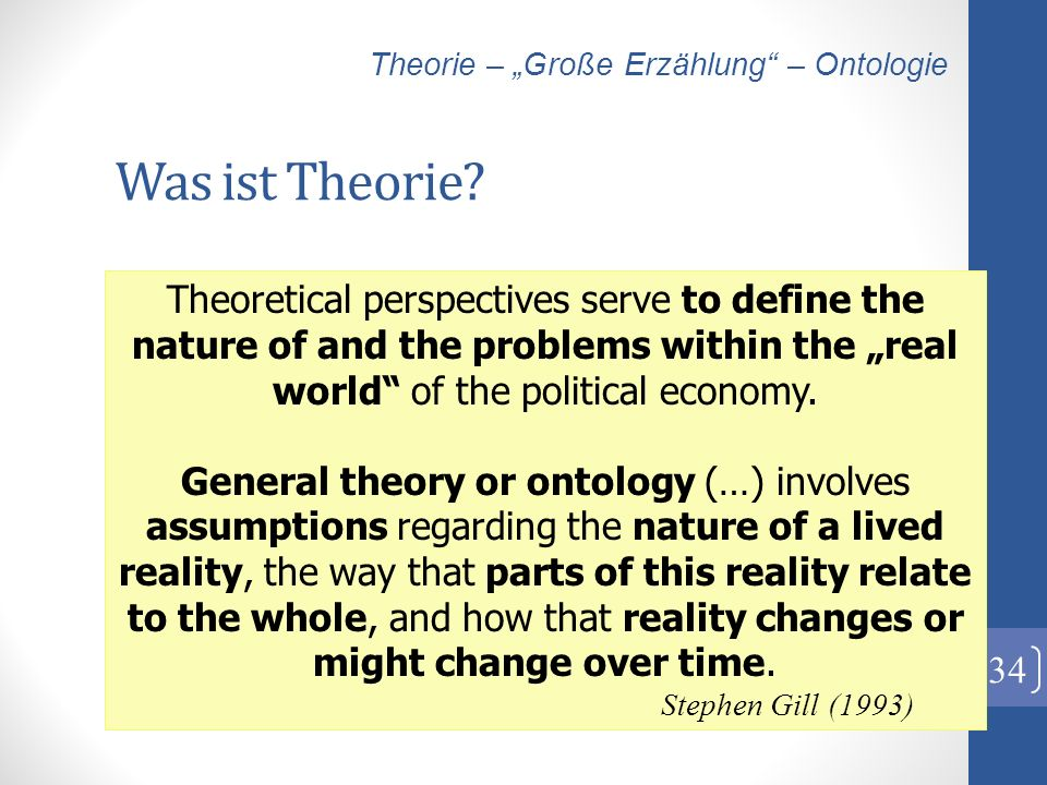 Was ist Theorie? 34 Theoretical perspectives serve to define the nature of and the problems within the real world of the political economy. General th
