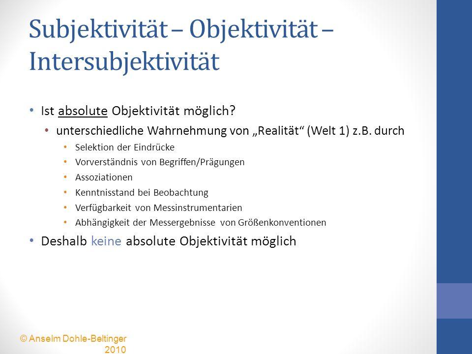 Subjektivität – Objektivität – Intersubjektivität Ist absolute Objektivität möglich? unterschiedliche Wahrnehmung von Realität (Welt 1) z.B. durch Sel