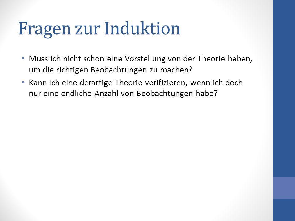 Fragen zur Induktion Muss ich nicht schon eine Vorstellung von der Theorie haben, um die richtigen Beobachtungen zu machen? Kann ich eine derartige Th