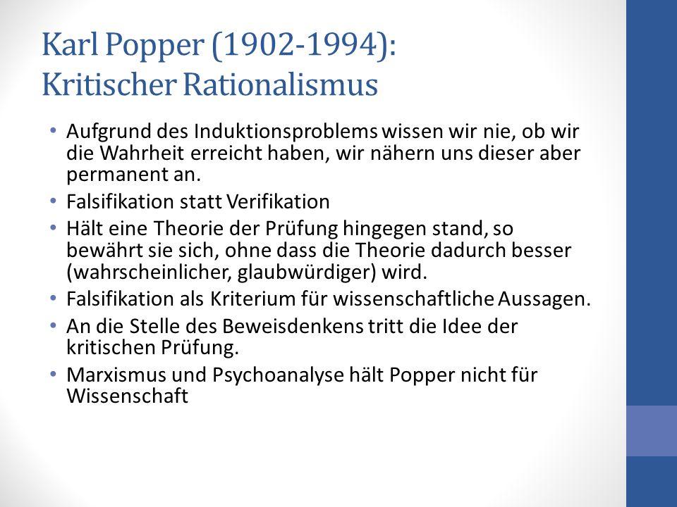 Karl Popper (1902-1994): Kritischer Rationalismus Aufgrund des Induktionsproblems wissen wir nie, ob wir die Wahrheit erreicht haben, wir nähern uns d