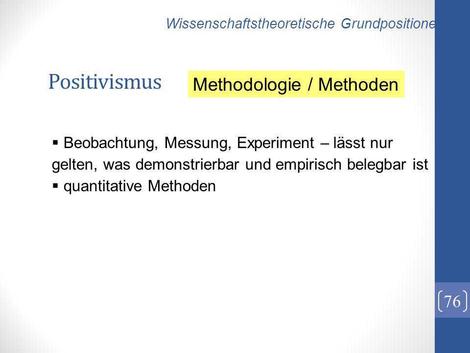 Positivismus 76 Wissenschaftstheoretische Grundpositionen Beobachtung, Messung, Experiment – lässt nur gelten, was demonstrierbar und empirisch belegb