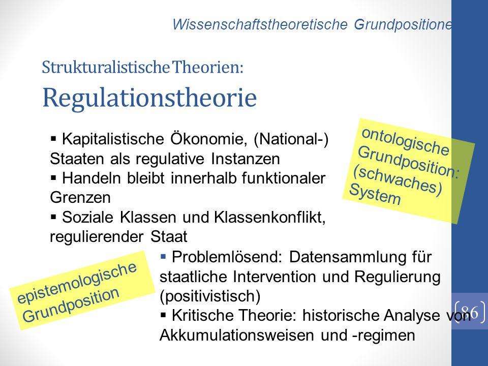 Strukturalistische Theorien: Regulationstheorie 86 Kapitalistische Ökonomie, (National-) Staaten als regulative Instanzen Handeln bleibt innerhalb fun