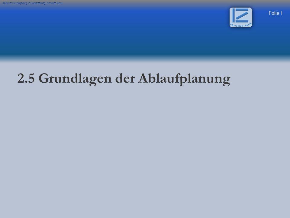 Folie 32 © Skript IHK Augsburg in Überarbeitung Christian Zerle Sie hat folgende Gesichtspunkte zu berücksichtigen: - - Produktionsprogramm - - Fertigungstiefe - - Flächen-, Gebäudeverfügbarkeit - - Fertigungsstruktur - - u.a.