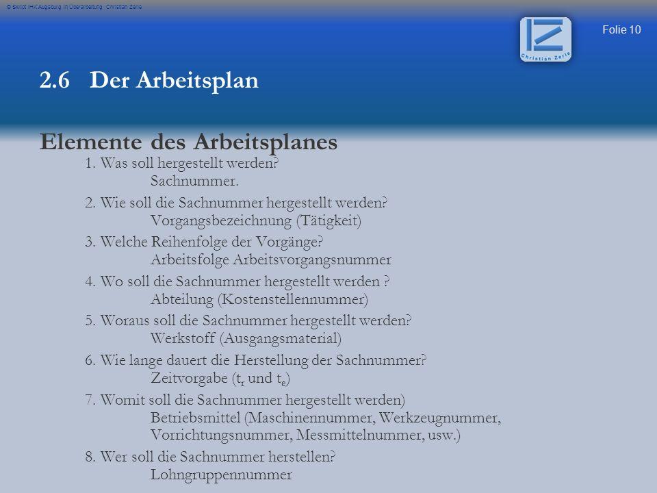 Folie 10 © Skript IHK Augsburg in Überarbeitung Christian Zerle 1. Was soll hergestellt werden? Sachnummer. 2. Wie soll die Sachnummer hergestellt wer