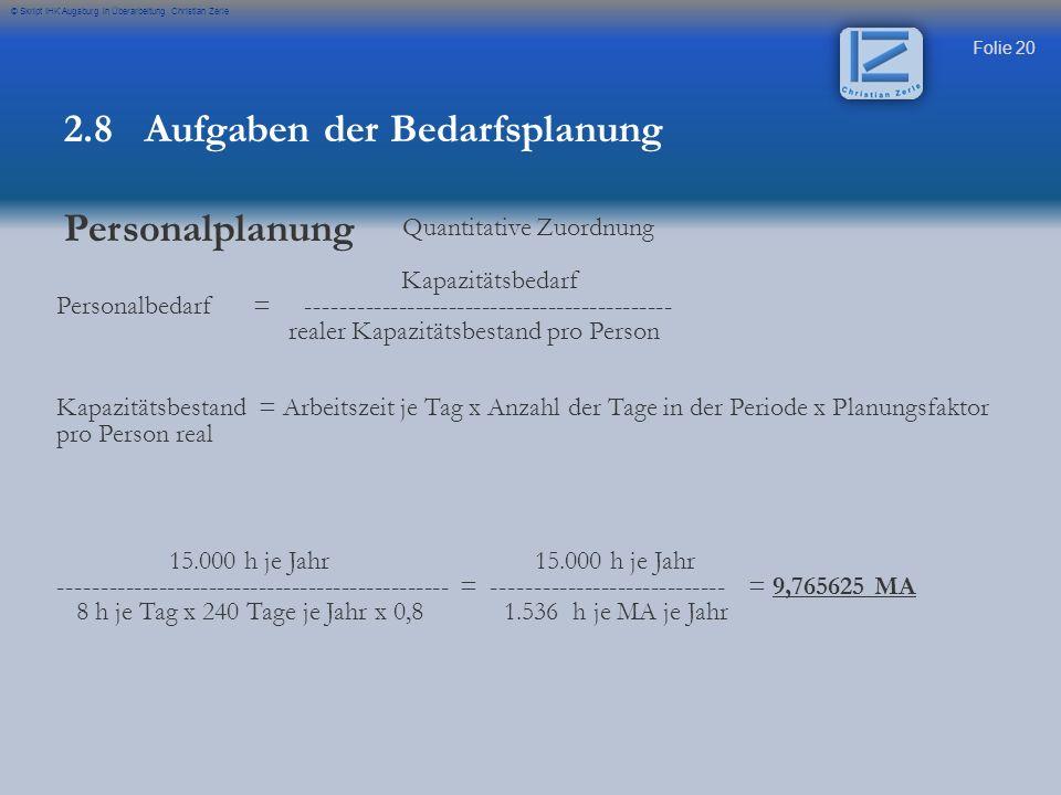 Folie 20 © Skript IHK Augsburg in Überarbeitung Christian Zerle 2.8 Aufgaben der Bedarfsplanung Personalplanung Quantitative Zuordnung Kapazitätsbedar