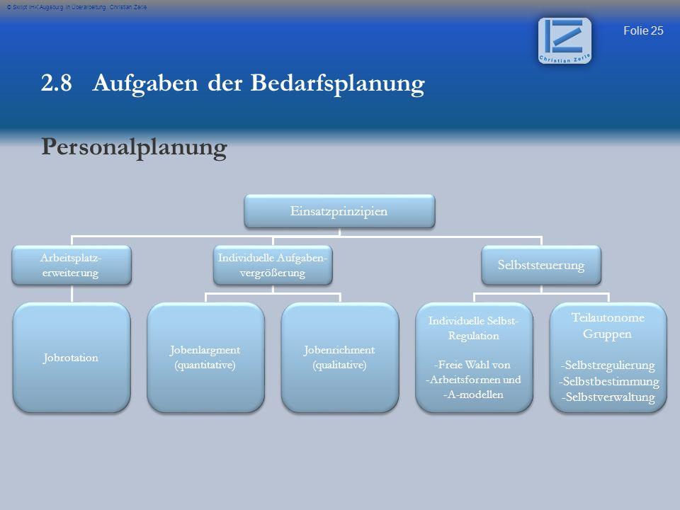 Folie 25 © Skript IHK Augsburg in Überarbeitung Christian Zerle Einsatzprinzipien Arbeitsplatz- erweiterung Arbeitsplatz- erweiterung Individuelle Auf