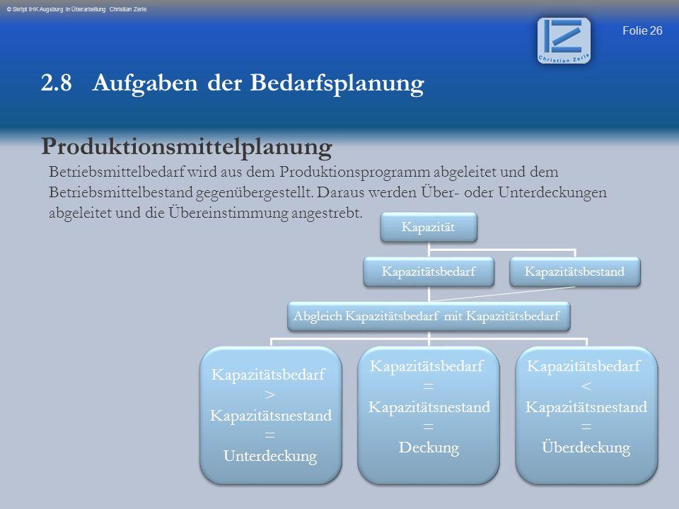 Folie 26 © Skript IHK Augsburg in Überarbeitung Christian Zerle Betriebsmittelbedarf wird aus dem Produktionsprogramm abgeleitet und dem Betriebsmitte