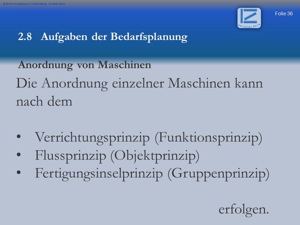 Folie 36 © Skript IHK Augsburg in Überarbeitung Christian Zerle 2.8 Aufgaben der Bedarfsplanung Anordnung von Maschinen Die Anordnung einzelner Maschi