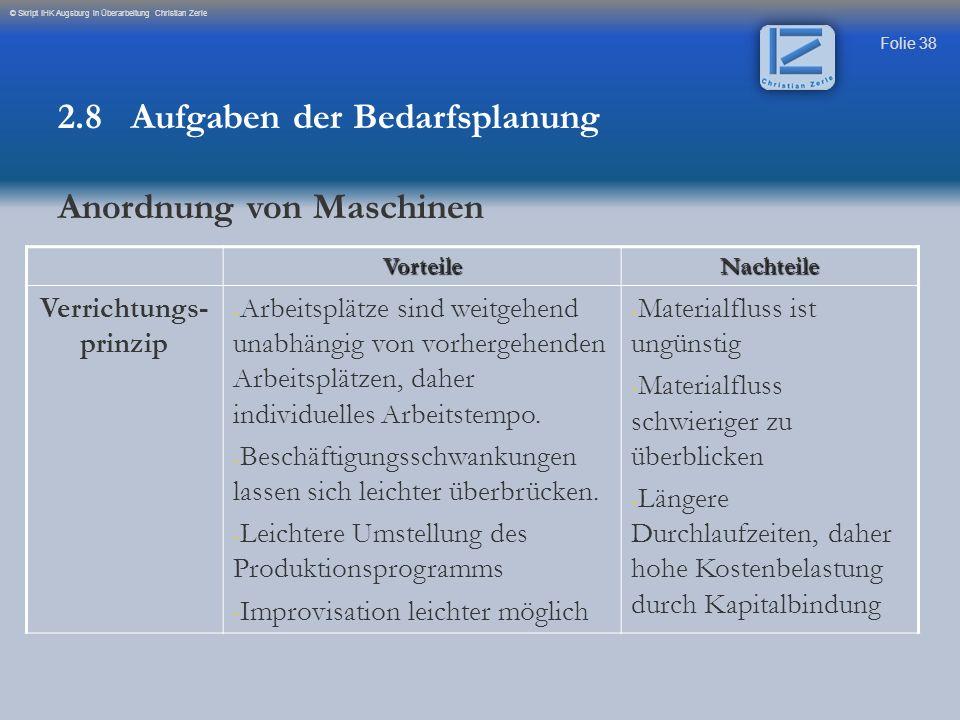 Folie 38 © Skript IHK Augsburg in Überarbeitung Christian ZerleVorteileNachteile Verrichtungs- prinzip - Arbeitsplätze sind weitgehend unabhängig von