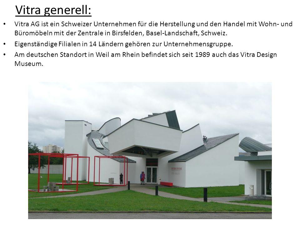 Vitra generell: Vitra AG ist ein Schweizer Unternehmen für die Herstellung und den Handel mit Wohn- und Büromöbeln mit der Zentrale in Birsfelden, Bas