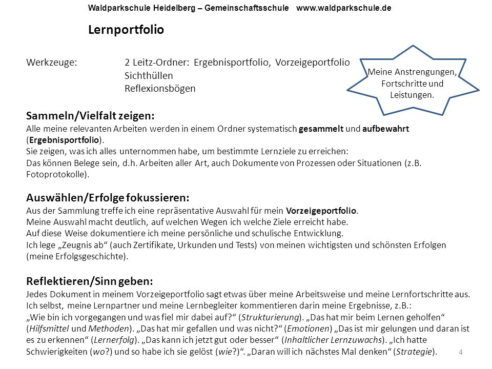 Lernportfolio 4 Werkzeuge:2 Leitz-Ordner: Ergebnisportfolio, Vorzeigeportfolio Sichthüllen Reflexionsbögen Sammeln/Vielfalt zeigen: Alle meine relevan