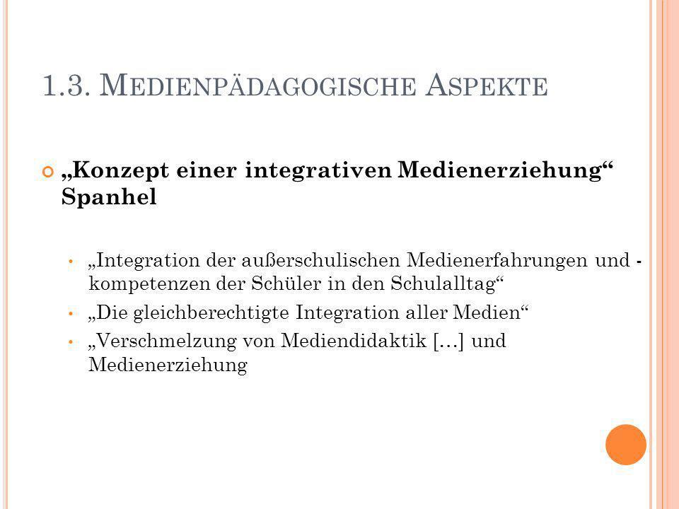 1.3. M EDIENPÄDAGOGISCHE A SPEKTE Konzept einer integrativen Medienerziehung Spanhel Integration der außerschulischen Medienerfahrungen und - kompeten