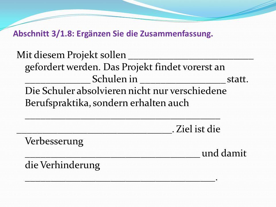 Lösung: Abschnitt 3/1.8: Ergänzen Sie die Zusammenfassung.