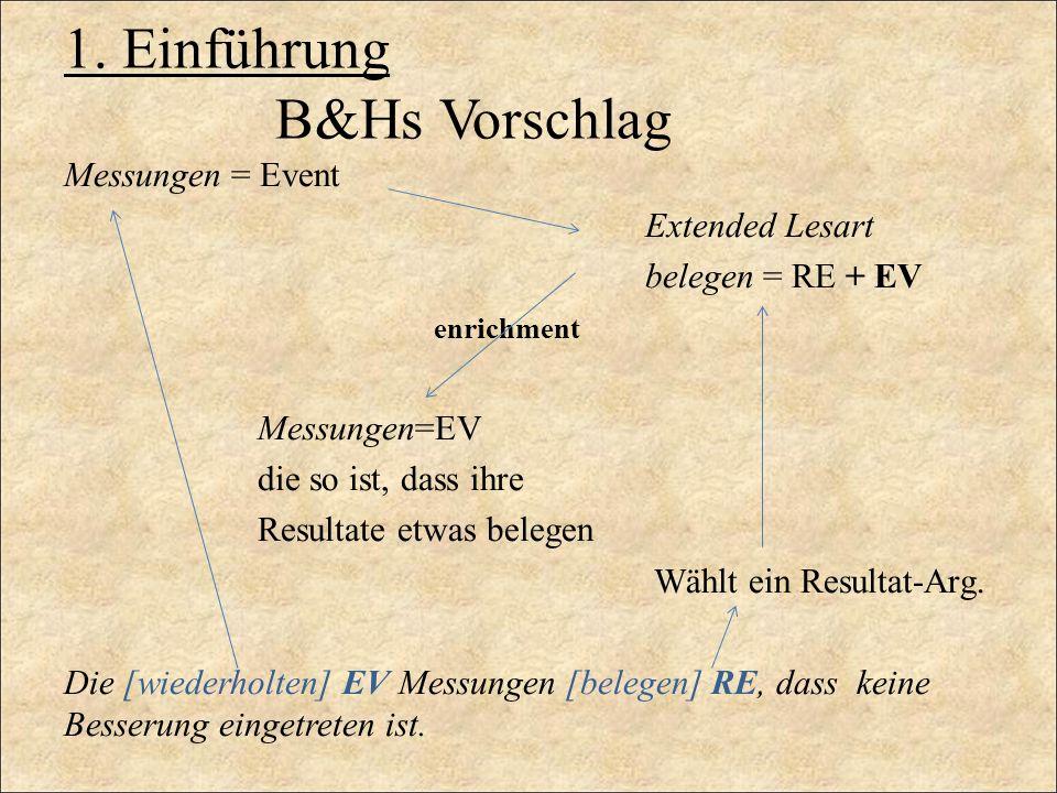 1. Einführung B&Hs Vorschlag Messungen = Event Extended Lesart belegen = RE + EV enrichment Messungen=EV die so ist, dass ihre Resultate etwas belegen