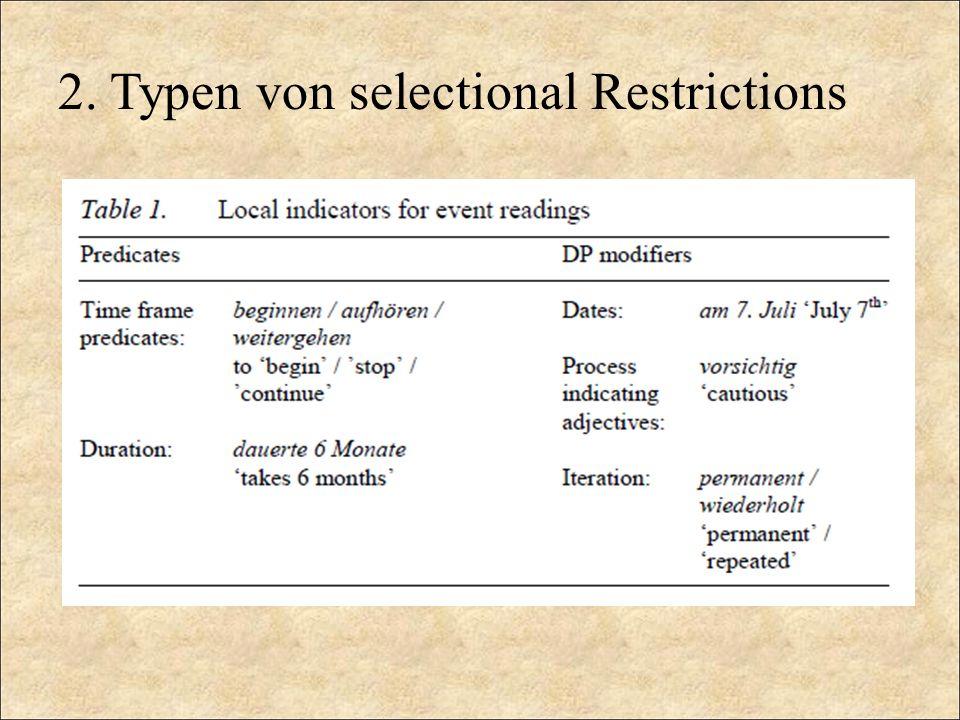 2. Typen von selectional Restrictions
