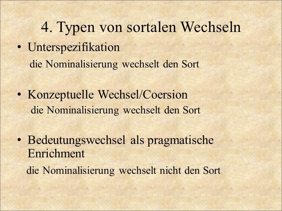 4. Typen von sortalen Wechseln Unterspezifikation die Nominalisierung wechselt den Sort Konzeptuelle Wechsel/Coersion die Nominalisierung wechselt den