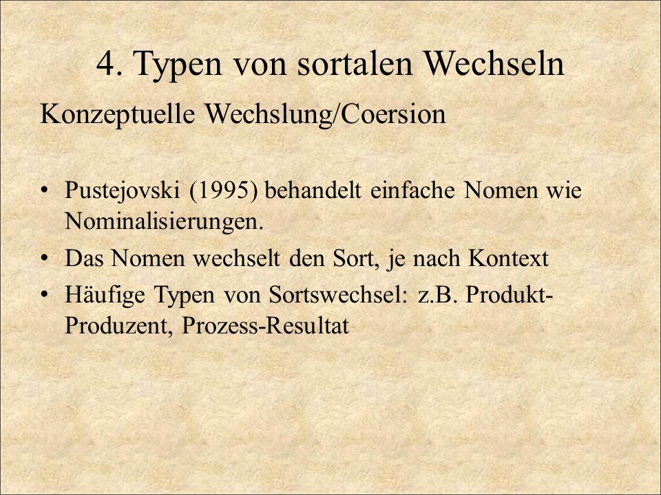 4. Typen von sortalen Wechseln Konzeptuelle Wechslung/Coersion Pustejovski (1995) behandelt einfache Nomen wie Nominalisierungen. Das Nomen wechselt d