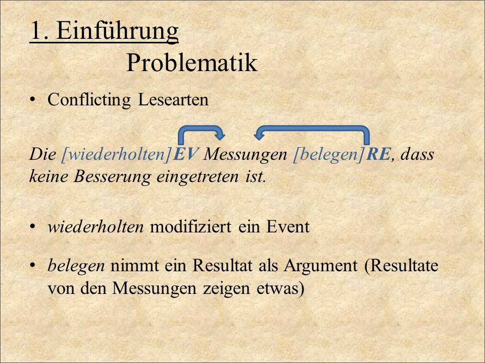 1. Einführung Problematik Conflicting Lesearten Die [wiederholten]EV Messungen [belegen]RE, dass keine Besserung eingetreten ist. wiederholten modifiz