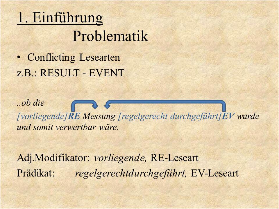 1. Einführung Problematik Conflicting Lesearten z.B.: RESULT - EVENT..ob die [vorliegende]RE Messung [regelgerecht durchgeführt]EV wurde und somit ver