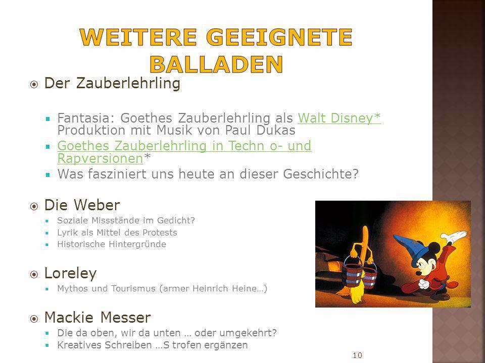 Der Zauberlehrling Fantasia: Goethes Zauberlehrling als Walt Disney* Produktion mit Musik von Paul DukasWalt Disney* Goethes Zauberlehrling in Techn o