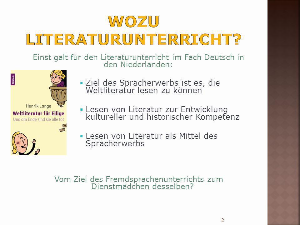 Einst galt für den Literaturunterricht im Fach Deutsch in den Niederlanden: Ziel des Spracherwerbs ist es, die Weltliteratur lesen zu können Lesen von