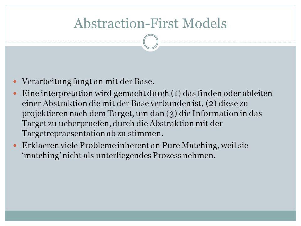 Alignment-First Models Fangt, sowie Pure Matching, auch an durch das finden von gemeinsame Eigenschaften zwischen Base und Target.