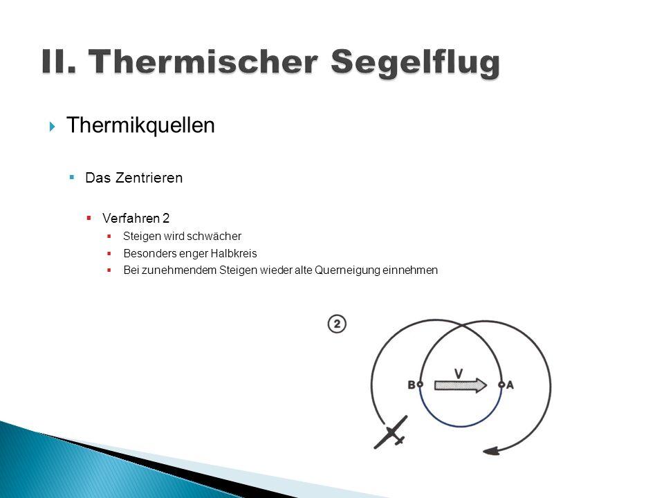 Thermikquellen Das Zentrieren Verfahren 2 Steigen wird schwächer Besonders enger Halbkreis Bei zunehmendem Steigen wieder alte Querneigung einnehmen