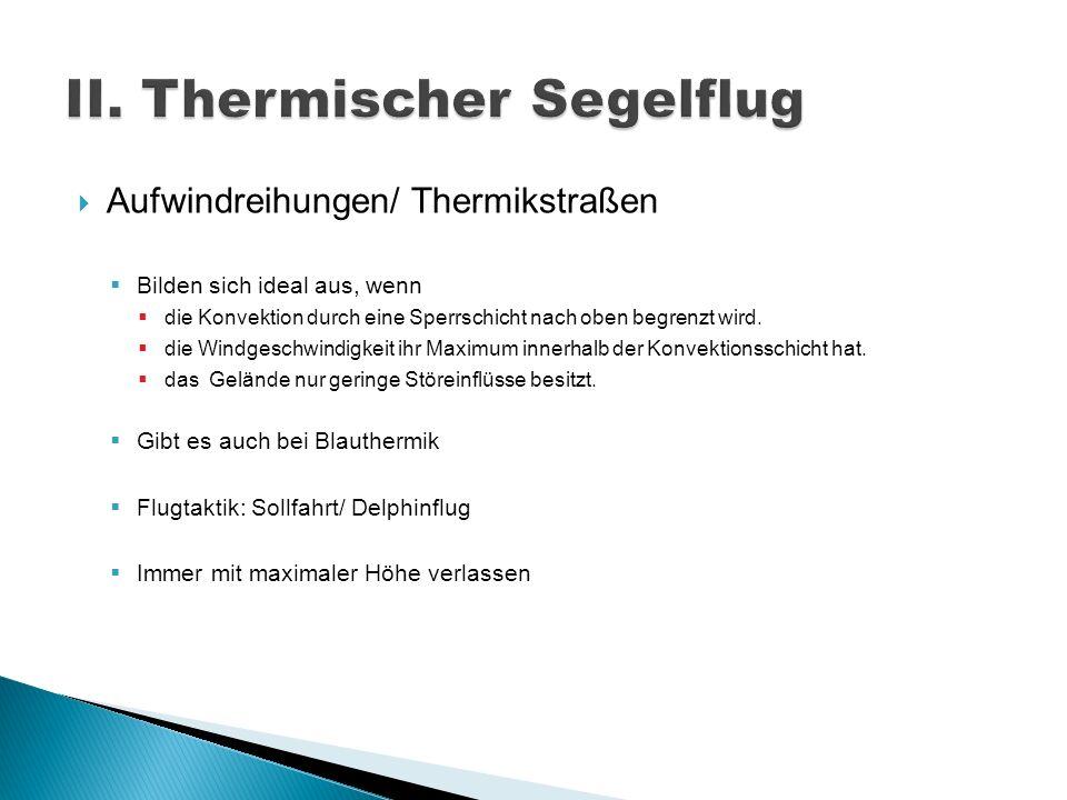 Aufwindreihungen/ Thermikstraßen Bilden sich ideal aus, wenn die Konvektion durch eine Sperrschicht nach oben begrenzt wird. die Windgeschwindigkeit i