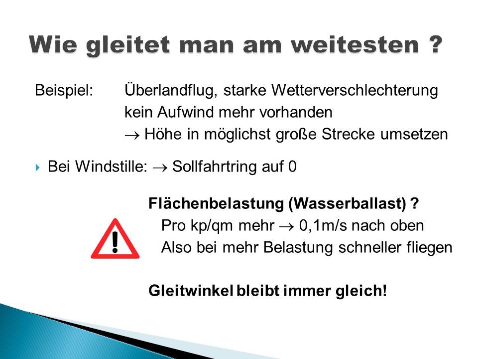 Beispiel: Überlandflug, starke Wetterverschlechterung kein Aufwind mehr vorhanden Höhe in möglichst große Strecke umsetzen Bei Windstille: Sollfahrtri