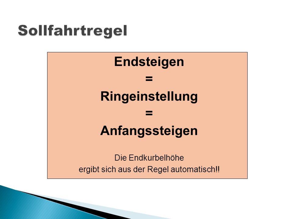 Endsteigen = Ringeinstellung = Anfangssteigen Die Endkurbelhöhe ergibt sich aus der Regel automatisch!!