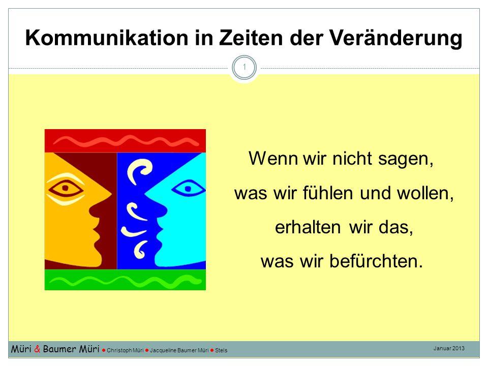 Kommunikation in Zeiten der Veränderung Müri & Baumer Müri Christoph Müri Jacqueline Baumer Müri Stels Januar 2013 1 Wenn wir nicht sagen, was wir fühlen und wollen, erhalten wir das, was wir befürchten.