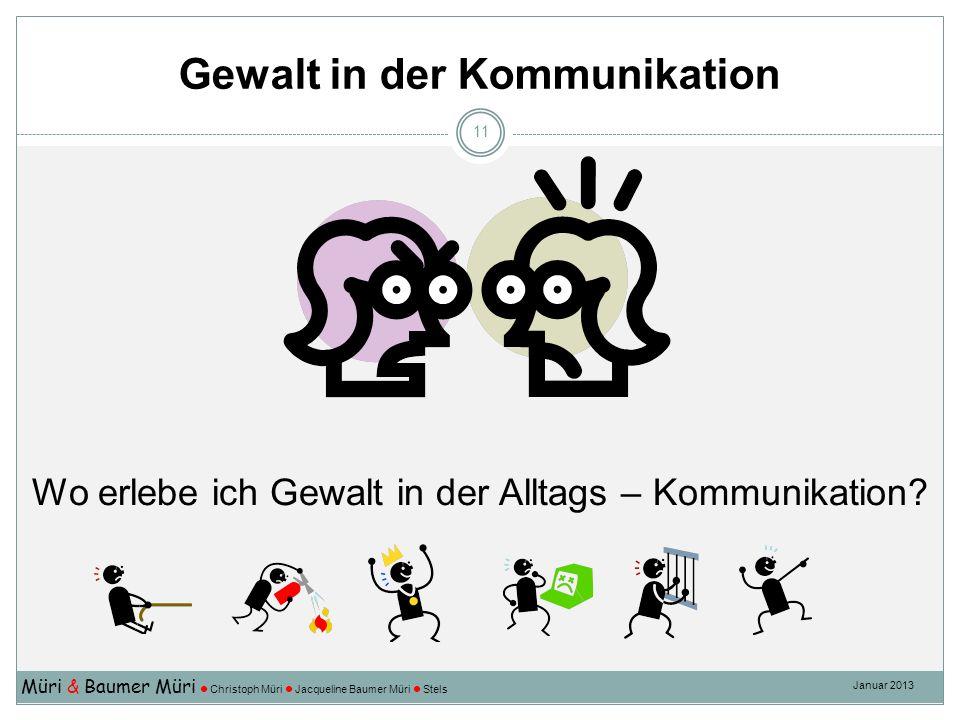 Gewalt in der Kommunikation Müri & Baumer Müri Christoph Müri Jacqueline Baumer Müri Stels Januar 2013 11 Wo erlebe ich Gewalt in der Alltags – Kommun