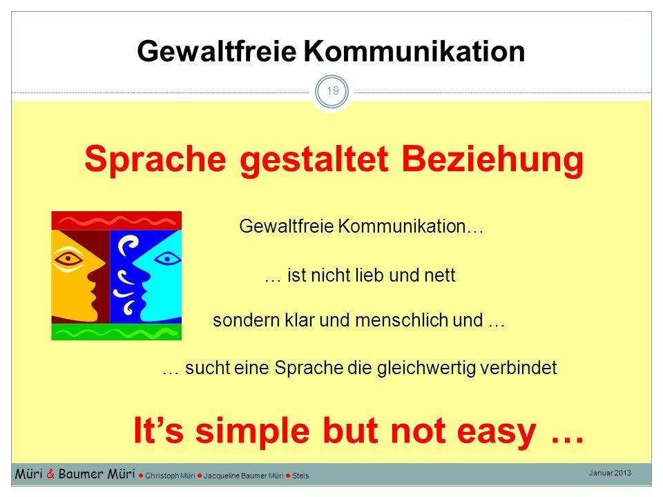 Müri & Baumer Müri Christoph Müri Jacqueline Baumer Müri Stels Januar 2013 19 Its simple but not easy … Sprache gestaltet Beziehung … ist nicht lieb u