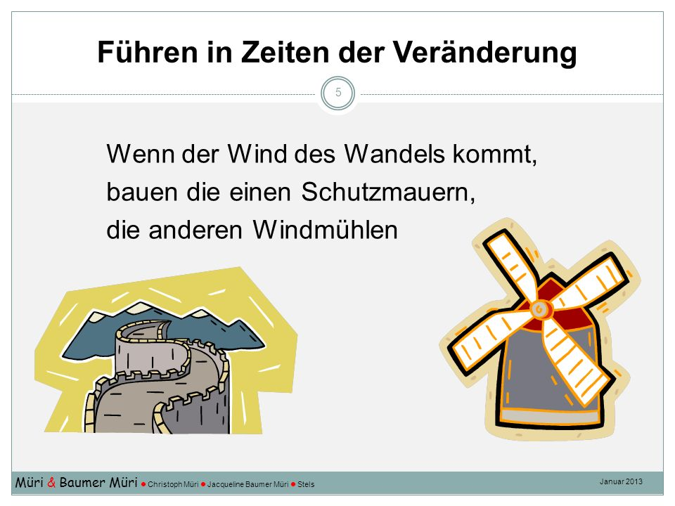 Führen in Zeiten der Veränderung Müri & Baumer Müri Christoph Müri Jacqueline Baumer Müri Stels Januar 2013 5 Wenn der Wind des Wandels kommt, bauen die einen Schutzmauern, die anderen Windmühlen