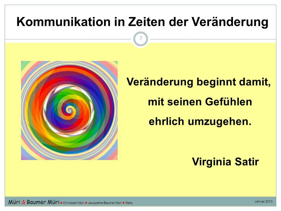 Kommunikation in Zeiten der Veränderung 7 Veränderung beginnt damit, mit seinen Gefühlen ehrlich umzugehen. Virginia Satir Müri & Baumer Müri Christop