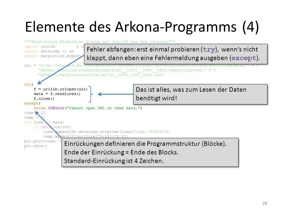 28 Elemente des Arkona-Programms (4) Einrückungen definieren die Programmstruktur (Blöcke). Ende der Einrückung = Ende des Blocks. Standard-Einrückung