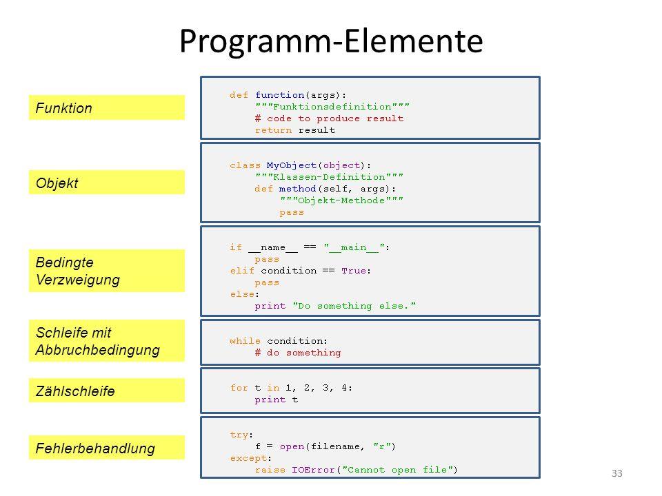 33 Programm-Elemente Schleife mit Abbruchbedingung Funktion Objekt Bedingte Verzweigung Zählschleife Fehlerbehandlung