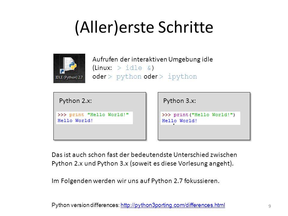 99 (Aller)erste Schritte Aufrufen der interaktiven Umgebung idle (Linux: > idle &) oder > python oder > ipython Python 2.x:Python 3.x: Das ist auch sc