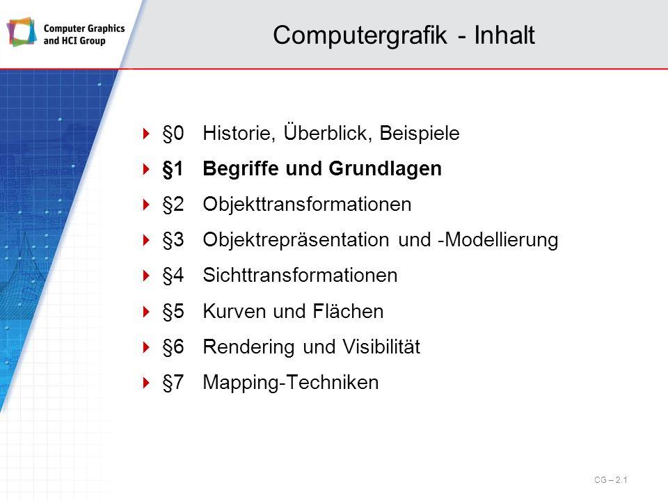 Computergrafik - Inhalt §0Historie, Überblick, Beispiele §1Begriffe und Grundlagen §2Objekttransformationen §3Objektrepräsentation und -Modellierung §