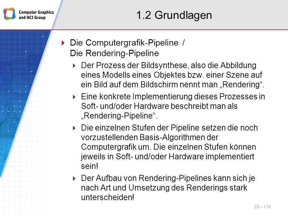 1.2 Grundlagen Die Computergrafik-Pipeline / Die Rendering-Pipeline Der Prozess der Bildsynthese, also die Abbildung eines Modells eines Objektes bzw.