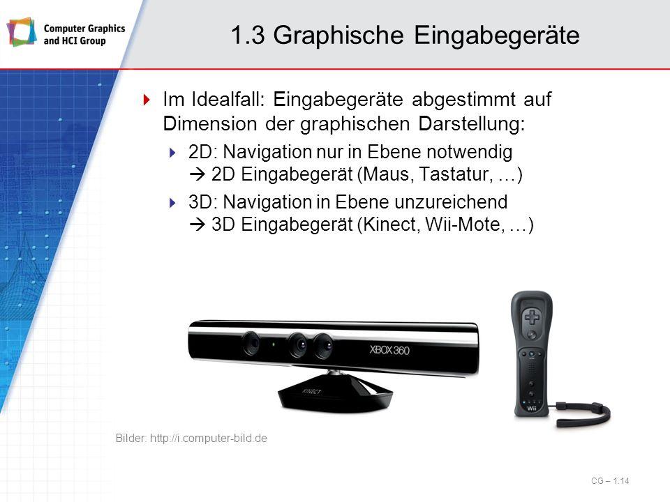 1.3 Graphische Eingabegeräte Im Idealfall: Eingabegeräte abgestimmt auf Dimension der graphischen Darstellung: 2D: Navigation nur in Ebene notwendig 2