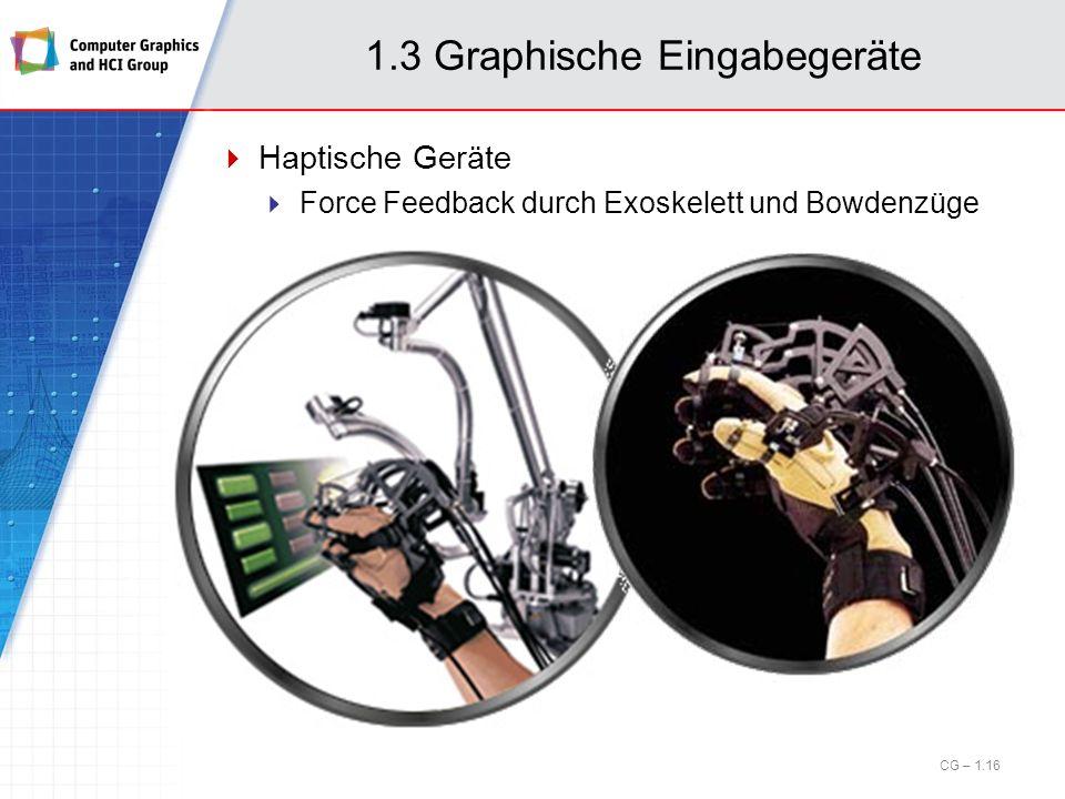 Haptische Geräte Force Feedback durch Exoskelett und Bowdenzüge CG – 1.16