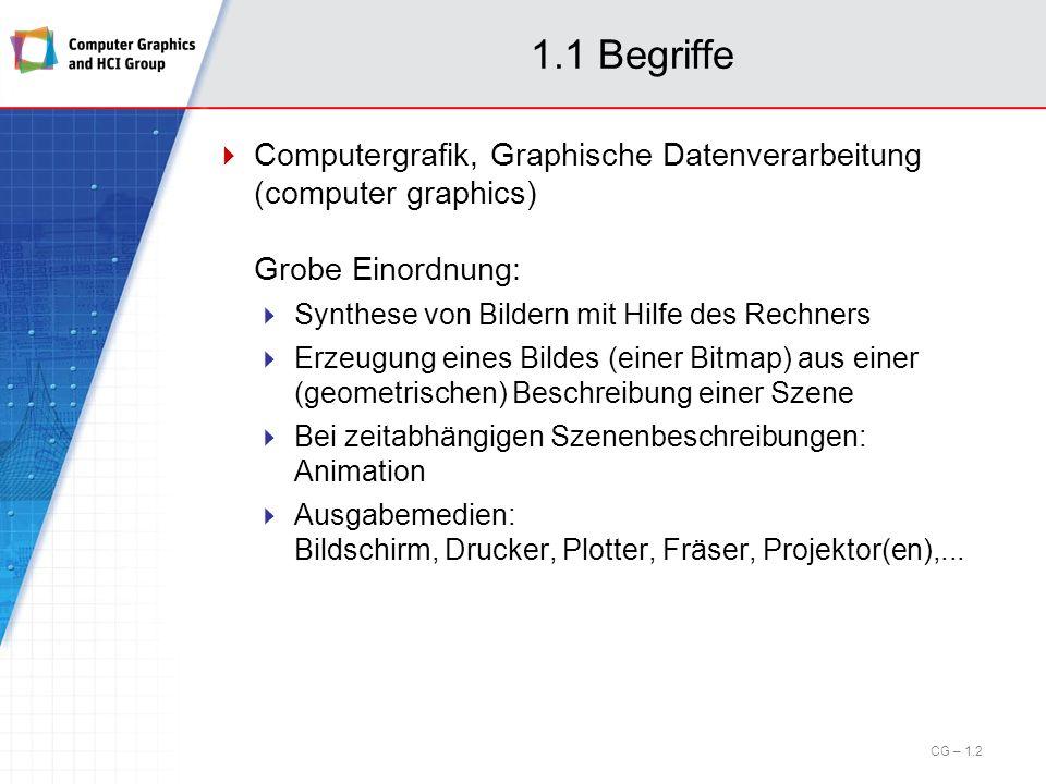 1.1 Begriffe Computergrafik, Graphische Datenverarbeitung (computer graphics) Grobe Einordnung: Synthese von Bildern mit Hilfe des Rechners Erzeugung
