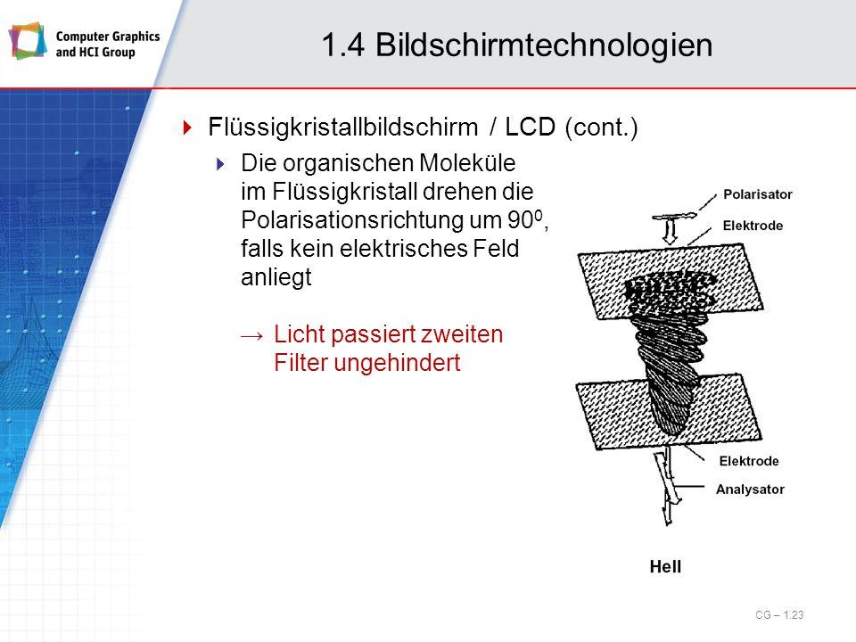 1.4 Bildschirmtechnologien Flüssigkristallbildschirm / LCD (cont.) Die organischen Moleküle im Flüssigkristall drehen die Polarisationsrichtung um 90