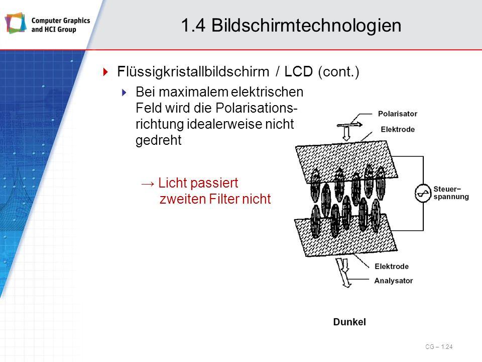 1.4 Bildschirmtechnologien Flüssigkristallbildschirm / LCD (cont.) Bei maximalem elektrischen Feld wird die Polarisations- richtung idealerweise nicht