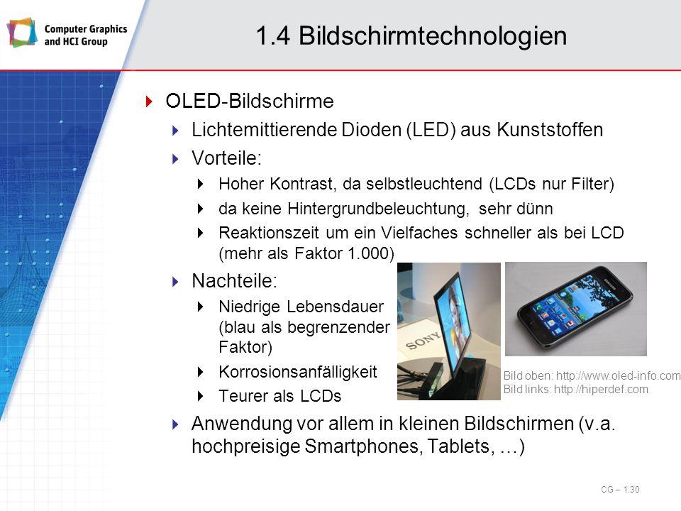 1.4 Bildschirmtechnologien OLED-Bildschirme Lichtemittierende Dioden (LED) aus Kunststoffen Vorteile: Hoher Kontrast, da selbstleuchtend (LCDs nur Fil