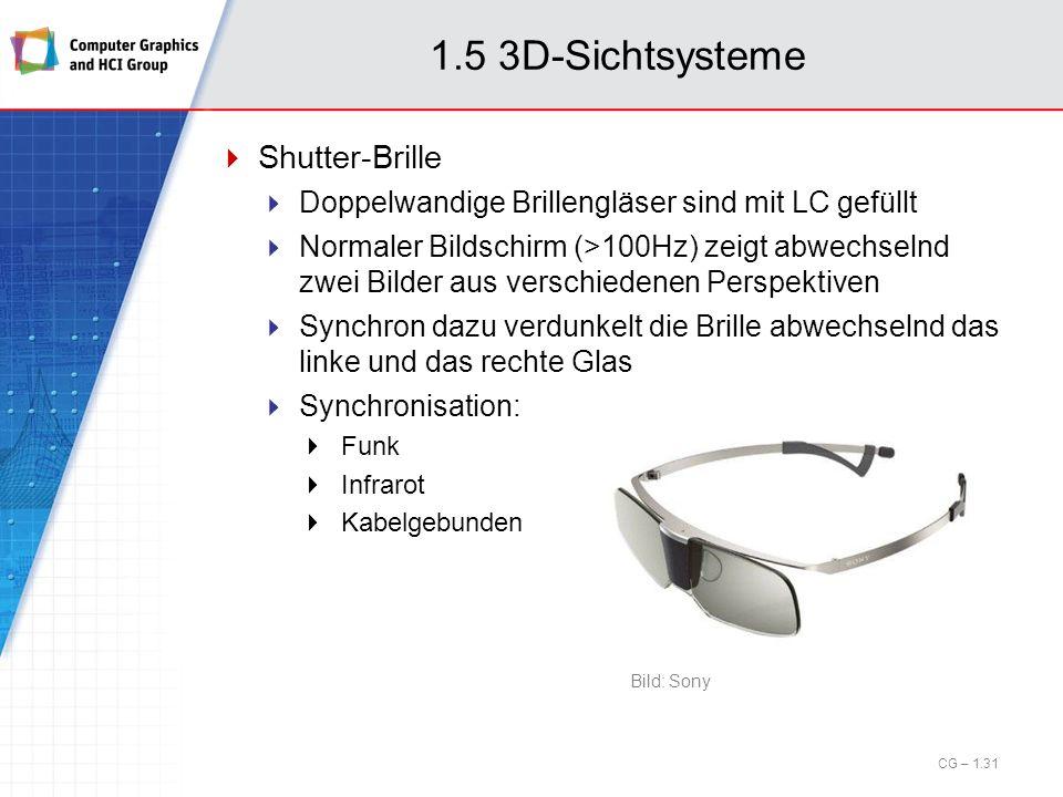 1.5 3D-Sichtsysteme Shutter-Brille Doppelwandige Brillengläser sind mit LC gefüllt Normaler Bildschirm (>100Hz) zeigt abwechselnd zwei Bilder aus vers
