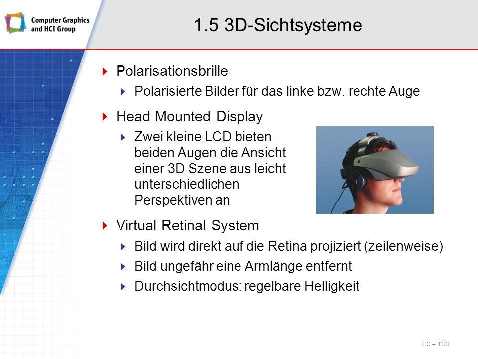1.5 3D-Sichtsysteme Polarisationsbrille Polarisierte Bilder für das linke bzw. rechte Auge Head Mounted Display Zwei kleine LCD bieten beiden Augen di
